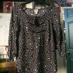 Black and Gray Flowy Boho Blouse Top Front-Tie